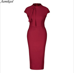 $enCountryForm.capitalKeyWord NZ - Wholesale Women Work Dress Sleeveless Good Quality Red Black Summer Sexy V-neck Pencil Dress For Office Lady Fashion
