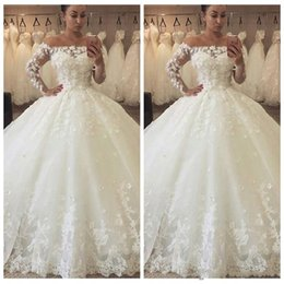 Lace Wedding Dresses Australia - 2018 Arabic A Line Wedding Dresses Off Shoulder Long Sleeves 3D Flowers Lace Appliques Illusion Puffy Ball Gown Long Country Bridal Gowns