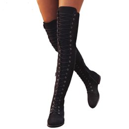 $enCountryForm.capitalKeyWord UK - Sexy Lace Up Over Knee Boots Women Boots Flats Shoes Woman Square Heel Rubber Flock Botas Winter Thigh High 35-43