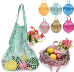 Discount fruit handbags - Fashion Shopping Mesh Bag Convenient Reusable Fruit String Grocery Shopper Cotton Tote Mesh Vegetables Storage Handbag K