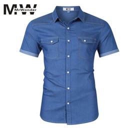 plus size short sleeve denim shirt 2019 - MrWonder Men's Summer Denim shirts Short Sleeve Light Blue Boy's Causal Shirts for Teengers Slim Plus Size S-X