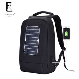 solar powered laptops 2019 - FENRUIEN USB Solar Powered Charge Backpack for Men Women Laptop Backpack 15.6 inch Waterproof Business Fashion Travel ch
