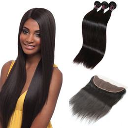 Discount straight peruvian hair weave - Wholesale 10A Brazilian Straight Hair 3Bundles With 13*4 Lace Frontal Peruvian Human Hair Extensions Malaysian Straight