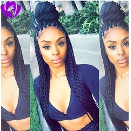 micro braided wigs Australia - Long Black brazilian full lace front Braided Wigs With Baby Hair Micro Braids Synthetic Lace Front Wig For Women Heat Resistant