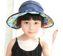 Discount sun hats without top - Summer children no top wide brim hats girl foldable beach hats easy to carry cotton sun protection hat wholesale free sh