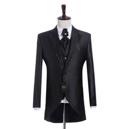 men wedding prom suits groom tuxedos UK - Real Picture Groomsmen Shiny Black Groom Tuxedos Notch Lapel Men Suits Side Vent Wedding Prom Best Man Blazer ( Jacket+Pants+Vest+Tie ) K944