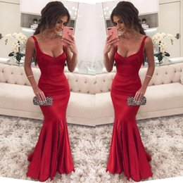 square art Australia - Sexy Square Neck Red Mermaid Prom Dresses 2018 Glamorous Side Split Evening Party Wear Prom Gowns Red Carpet Simple Celebrity Dress