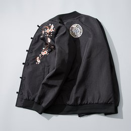 flower jackets 2019 - Sinicism Store Men Bomber 2018 Jacket Flower Embroidery Black Vintage Windbreaker Male Chinese Style Clothes Plus Size c