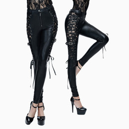 devil leather 2019 - Devil Fashion Punk Sides Bind PU Leather Trousers for Women Gothic Sexy Lace Hollow Out Stretch Pants Black Slim-Fiing P