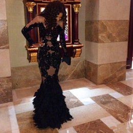 black feather mermaid evening dress 2019 - 2018 New prom dresses Sexy Long Sleeves Lace Appliques See Through robe soiree Mermaid party dresses Evening Gowns vesti