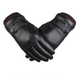 fleece lined tops Canada - Top Quality PU Leather Men's Gloves Thermal Winter Touch Screen Wrist Driving Warm Fleece Lining Gloves Male Flexible Knit Cuffs