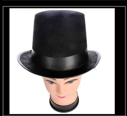black magic hat NZ - Retro classic Black Top Hat Magic hat Abraham Lincoln hats Masquerade Party dress up halloween Accessory tall black felt jazz hat HOT