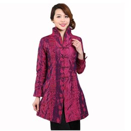 $enCountryForm.capitalKeyWord UK - Purple Chinese Style Women Silk Satin Jacket Embroidery Coat Autumn Winter Windbreaker Tang Suit Top Plus Size 4XL 5XL T045
