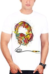 Custom Print T Shirt Cheap Australia - Custom T Shirts Cheap O - Neck Short Men's Printed Music T-shirts Abstract Headphone T-shirt 100% Cotton Tee For Men