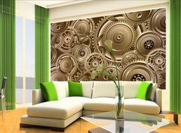 machines houses 2018 - 3D stereo-metal gear machine large mural reversionary restaurant bar Internet cafe decorates wallpaper industrial wind w