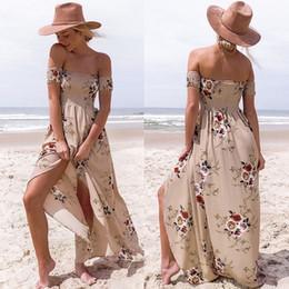 Women S Beach Clothes NZ - Women S Homecoming Dresses Flower Girl Slit Maxi Dresses Boho Floral Print Strapless New 2018 Chiffon Beach Clothing