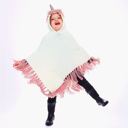 Clothes Poncho NZ - Girls Winter Unicorn Knit Wool cloak Kids shawl scarf poncho Cloaks with hoodies Outwear Children Coats Jackets Clothing Clothes