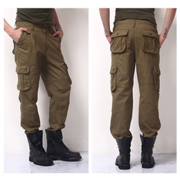 Layer Pants Canada - Winter Double Layer Men's Cargo Pants Warm Outdoor Sports Pants Baggy Pants Cotton Trousers For Men Color Dark Army Green Black