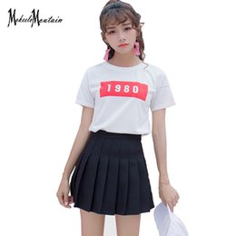 Discount white short spandex skirts - 2018 Harajuku Lolita Schoolgirl Skirt Pleated Korean Kawaii Pink Blue Black  Streetwear Mini Candy Color Skirt Shorts Fe