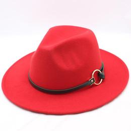 stylish caps for men 2019 - Men Fedora Hat For Gentleman Woolen Wide Brim Jazz Church Cap Band Wide Flat Brim Jazz Hats Stylish Trilby Panama Caps C