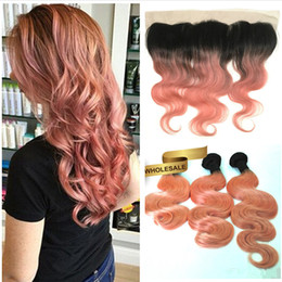 rose gold hair weave UK - Rose Gold Ombre Lace Frontal With Bundles Body Wave Two Tone Colored Brazilian Virgin Unprocess Hair Rose Pink Ombre Body Wave Hair Weave