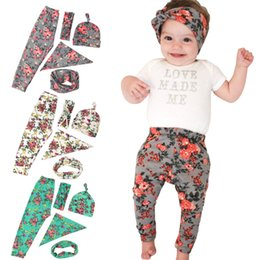 Discount diy summer clothing - Baby floral clothing 5pc set DIY headband+hat+bib+neckwarmer+pants cute infants flower pattern clothing 3 colors suit in