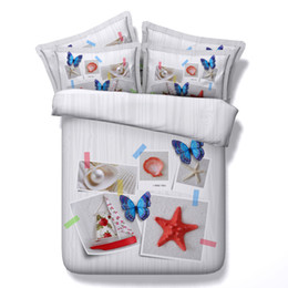 3d full bedding set butterfly NZ - 3D ocean beach theme Duvet Cover starfish bedding sets queen butterfly Bedspreads Holiday Quilt Covers Bed Linen Pillow Covers home textiles
