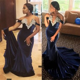 nigeria embroidery lace dresses Australia - Navy Blue Velvet Mermaid Evening Party Dresses 2018 Plus Size Nigeria African Off Shoulder Beaded Fishtail prom formal gown wear