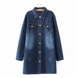 Breached Jeans Trench para mujer Casual suelta de manga larga de mezclilla Trench Coat Blue Autumn Outerwear