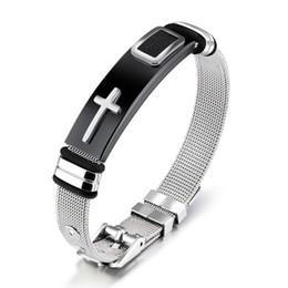 Mesh stainless steel bangle wholesale online shopping - Punk Cross Bracelet Bangle For Men Length CM Mesh Strap Band Stainless Steel Black Gold Color Male Wrap Bracelets