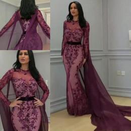 Yousef aljasmi labourjoisie online shopping - Evening dresses Yousef aljasmi Labourjoisie Long sleeve Cape Sequines Appliques Grape Mermaid Dubai Arabic Kaftan Prom Formal Gown