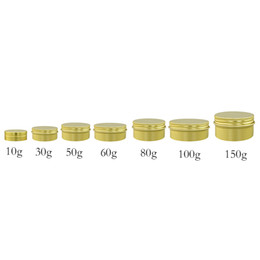 aluminum packaging for cosmetics NZ - 50pcs 10 30 50 60 80 100g 150g Gold aluminum metal jar for cream powder gel use Make Up Cosmetic Pot gold Containers Packaging