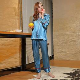 $enCountryForm.capitalKeyWord Australia - Women Blue Sleeping Pajamas Set Sleepwear Nightwear Set Satin Pajama Suit Loungewear Ladies Night Suit Long Sleeve Pyjama Shirt