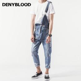 76d7ba6f3241 Denyblood Jeans Mens Distressed Jeans Ripped Slim Denim Bib Overalls  Fashion Hole Vintage Washed Jumpsuits For Men K8188