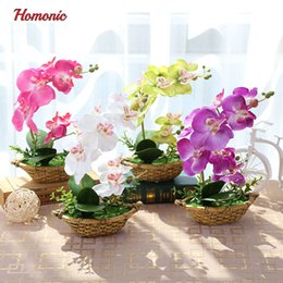 Decorative butterflies for weDDings online shopping - Artificial Butterfly Orchid Potted plants silk Decorative Flower in Pots phalaenopsis orchid bonsai for Home Balcony Decoration