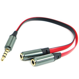 Wholesale 3.5mm Stereo Audio Y Splitter Cable Adapter Plug 4 pole Jack 1 to 2 Audio cable Y splitter 16cm free shipping 2018 hot sales high quality