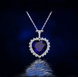 white gold heart ocean 2019 - The Heart Of The Ocean Necklace Elegant Fine Blue Crystal Pendant Necklace Classic Luxury Party Jewelry For Women Girls