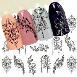 $enCountryForm.capitalKeyWord NZ - 1 Sheet Jewelry Flower Water Decal Black Sticker For Nail Pattern Painting Wrap Paper Foil Tip Tattoo Manicure SASTZ766-778