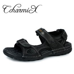 $enCountryForm.capitalKeyWord Canada - CcharmiX Brand Big Size 45 Men Summer Shoes Outdoor Mens Beach Sandals Cowhide Leather Black Male Rubber Footwear Fast Shipping