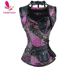 02e04c22a4 New Sexy Women Red Black Skull Pattern Steampunk Corset Punk Faux Leather  Steel Boned Bustiers Lace Up Plus Size Waist Trainer