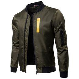 China 2018 Mens Army Green Bomber Jackets Coat Long Sleeve Appliques Casual Jacket Windbreaker Baseball Coat Fashion Urban Clothing supplier urban jackets suppliers