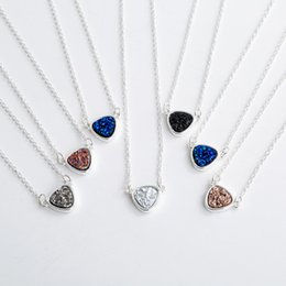 $enCountryForm.capitalKeyWord Australia - Fashion Triangle Druzy Drusy Necklace Silver Plated Faux Crystal Druse Resin Stone Women MICHAEL KENDRA Jewelry Accessories