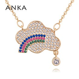 7ef7b3e0b ANKA luxury women cloud necklace moon charm luminous zircon pendants  necklaces vintage white gold color jewelry #130979