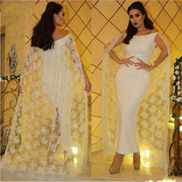 Chinese  Arabic Dubai Style Mermaid Prom Dresses With Long Capes Satin And Lace Formal Party Dress Ankle Length Sexy Evening Gowns Vestido de Feista manufacturers