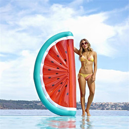 Discount water floating beds - Giant inflatable watermelon slice floating row water bed raft swimmming pool float seat hot sale good quality