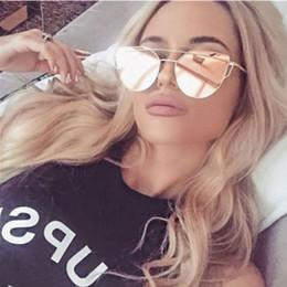 Marca Cateye Mulheres Espelho Óculos De Sol Plana Rosa de Ouro Do Vintage Cateye Moda Óculos De Sol Para Fmale Lady Eyewear