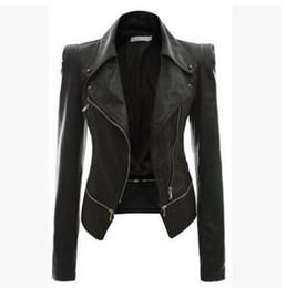 $enCountryForm.capitalKeyWord Canada - Wholesale- Women Leather Jacket Rivet Zipper Motorcycle Jacket Turn Down Collar chaquetas mujer Argyle pattern Leather Jacket S-3XL