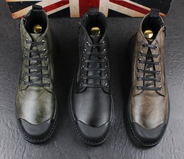 $enCountryForm.capitalKeyWord Canada - Male Fashion High Top Leather Shoes England Style Fashion Martin Boots Round Toes Lace Up Mixed Color Zipper Boots Spring Autumn Ankle Boots