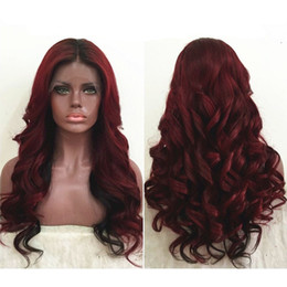 human hair two tone wigs 2020 - Two Tone Ombre Burgundy Full Lace Human Hair Wigs T1b 99j Loose Wavy Peruvian Virgin Hair Wine Red 150% Density Lace Fro