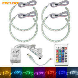 $enCountryForm.capitalKeyWord Canada - FEELDO Car RGB LED Angel Eyes Halo Ring Lighting Kit Remote Control For BMW E36 E38 E39 E46 Projector #4242